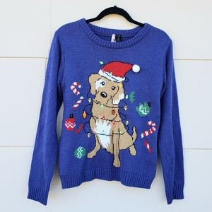 Light Up Dog tangled in lights ugly sweater
